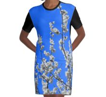 Beautiful White Umenohana Plum Blossoms Illustration Graphic T-Shirt Dress