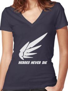 Mercy - Heroes Never Die! Women's Fitted V-Neck T-Shirt