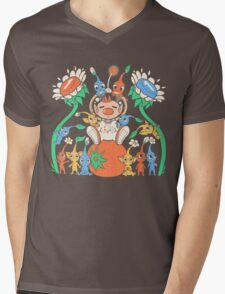 Friendly Alien Flora Mens V-Neck T-Shirt