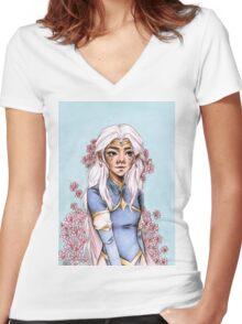 LION GODDESS - Allura Women's Fitted V-Neck T-Shirt