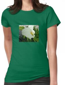 A Large Single White Calla Lily Flower Womens Fitted T-Shirt
