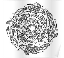 Fish Flow in Black and White Poster