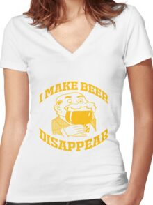 I MAKE BEER DISAPPEAR Women's Fitted V-Neck T-Shirt