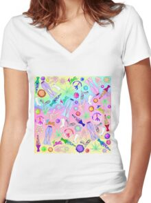 Psychedelic 70's Groovy Collage Pattern Women's Fitted V-Neck T-Shirt