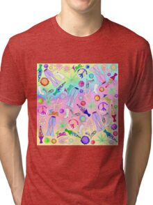 Psychedelic 70s Groovy Collage Pattern Tri-blend T-Shirt