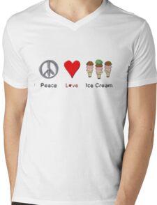 Peace, Love, And Ice Cream Mens V-Neck T-Shirt