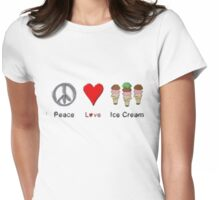 Peace, Love, And Ice Cream Womens Fitted T-Shirt