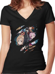 Kirito Asuna Anime Manga Shirt Women's Fitted V-Neck T-Shirt