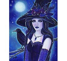 Raven Halloween witch fantasy art by Renee L Lavoie Photographic Print