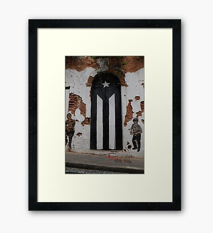Puerto Rico flag,black & Framed Print