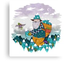 Mountain Guy and Owl Friend Canvas Print