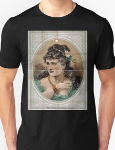 Performing Arts Posters Bust view of woman wearing rose in hair and green dress 1826 Unisex T-Shirt