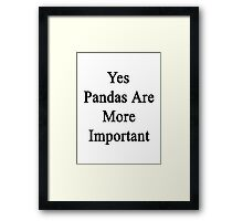 Yes Pandas Are More Important  Framed Print