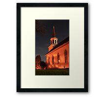 Old White Church At Night Framed Print