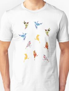 Vintage Wallpaper Birds on Wood Unisex T-Shirt
