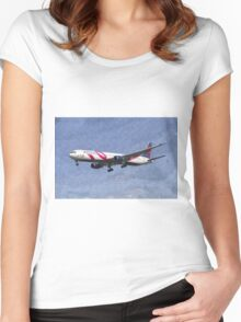 Delta Airlines Boeing 767 Art Women's Fitted Scoop T-Shirt