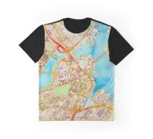Watercolor map of Boston city center Graphic T-Shirt