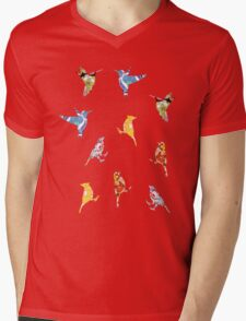 Vintage Wallpaper Birds on Mint Green Mens V-Neck T-Shirt
