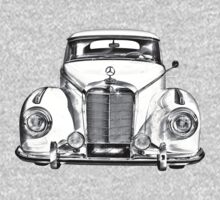 White Mercedes Benz 300 Luxury Car Drawing One Piece - Long Sleeve