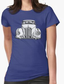White Mercedes Benz 300 Luxury Car Drawing Womens Fitted T-Shirt