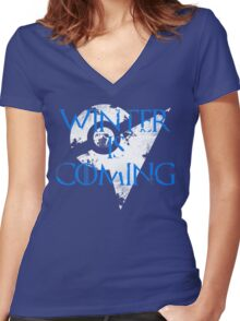Team Mystic Winter Is Coming Go - White Women's Fitted V-Neck T-Shirt