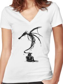Ink Dragon Women's Fitted V-Neck T-Shirt