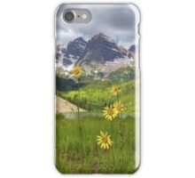 Maroon Bells Images - Sunflowers at Maroon Lake on a July Morning iPhone Case/Skin