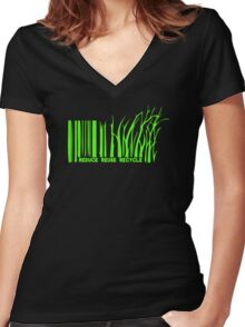 Rethink Barcode Women's Fitted V-Neck T-Shirt