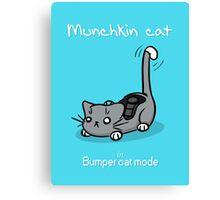 Munchkin cat - Bumper cat mode - white font Canvas Print