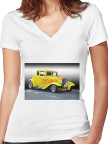 1932 Ford Five-Window Coupe Women's Fitted V-Neck T-Shirt