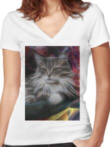 Bowl Of More Fur (Square Version) - By John Robert Beck Women's Fitted V-Neck T-Shirt
