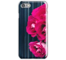 Pink bouquet of roses with dark striped background iPhone Case/Skin