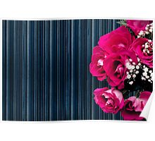 Pink bouquet of roses with dark striped background Poster