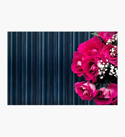 Pink bouquet of roses with dark striped background Photographic Print