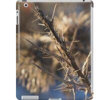 Closeup of a brown thistle stem in winter macro iPad Case/Skin