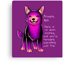 """Anxiety Lies"" Sparkle Pup Canvas Print"