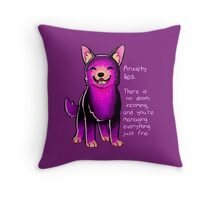 """""""Anxiety Lies"""" Sparkle Pup Throw Pillow"""