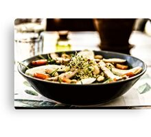 Fresh Salad With Mozzarella, Chicken, Tomatoes, Almonds And Onion Germs Canvas Print
