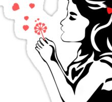 Girl Blowing Hearts (photoshop isolated) Sticker