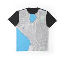 Seattle city center cartoon map Graphic T-Shirt