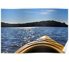 Landscape of a northern lake viewed from a kayak  Poster