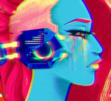 Synthwave Girl Sticker