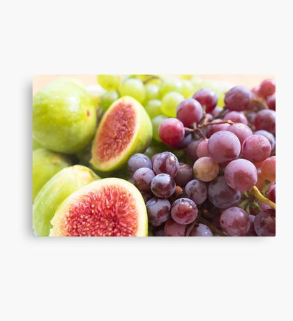 Fresh figs and grape Canvas Print