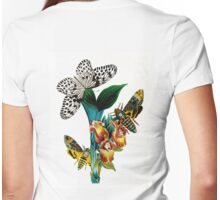 Butterflies, moths and orchids, vintage botanical painting Womens Fitted T-Shirt
