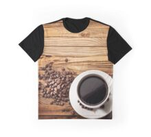 Morning Coffee on Wood Graphic T-Shirt