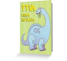 Happy Eleventh Birthday Dinosaur Greeting Card