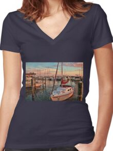 Afternoon At The Marina    Women's Fitted V-Neck T-Shirt