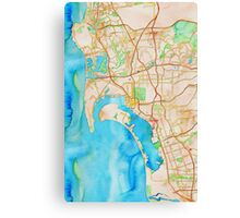San Diego metropolitan area watercolor map Canvas Print
