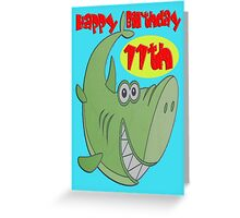 Green Shark Eleventh Birthday Greeting Card