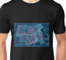 0130 Railroad Maps Rail road township map of Massachusetts published at the Boston Map Store Inverted Unisex T-Shirt